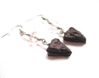 Devils Food Cake Earrings, Miniature Food Jewelry, Polymer Clay Food Jewelry