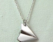 Paper Airplane Silver Charm Necklace