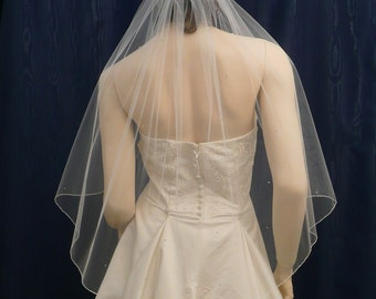 Elbow  length Angel Cut Bridal Veil with a Delicate  Pencil Edge accented with Scattered Swarovksi Rhinestones