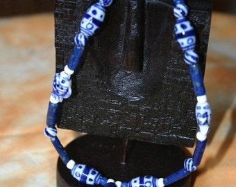 Necklace Chinese lapis blue and white porcelain Kitty cats fish white spacers