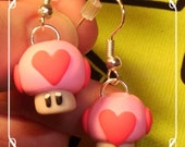 Life Mario Heart mushroom earrings