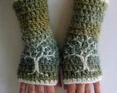Arm Warmers Fingerless Gloves with Tree of Life Green Blue Cream Fingerless Gloves Warm Embroidered Hippie Boho Bohemian - MADE TO ORDER