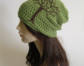 Womens Slouchy Beanie Slouchy Hat with Tree of Life Guys Hat Tree Beanie Sage Green Slouchy Hat Brown Hippie Hat Dread Hat- MADE TO ORDER