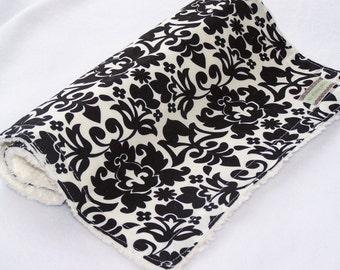 Burp Cloth--Black Damask Chenille---Sale