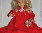 Custom ~ Set  Red Flannel Nightgowns for Girl and Doll ~ Set