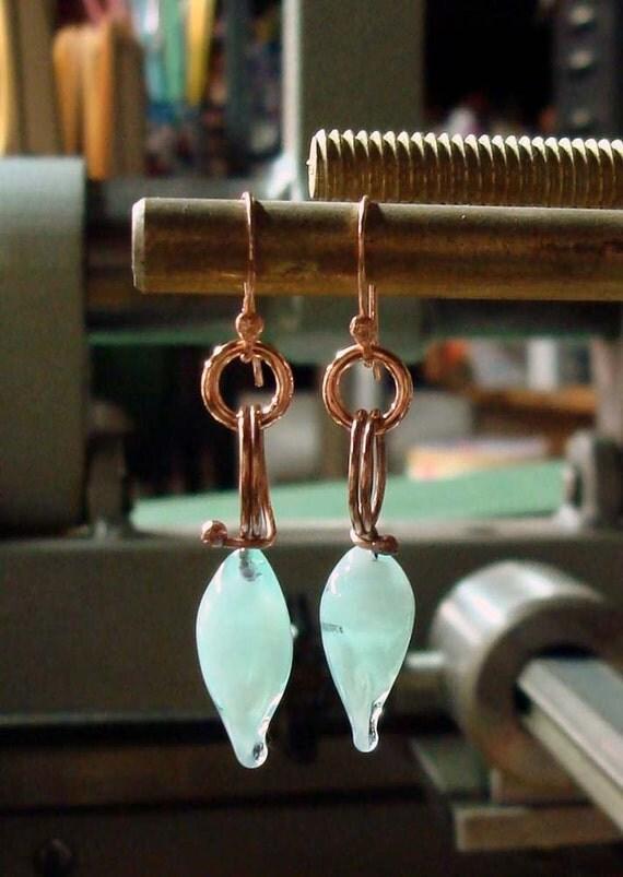Robins Egg Blue Rosebuds- Handmade Earrings