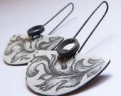 Ornamental Enamel earrings made of Sterling silver and copper with white enamel, Painting, Underglaze pencils