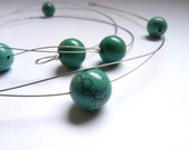 Turquoise Necklace, Magnesite Long Necklace, Simple necklace, Round Magnesite beads