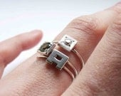 FOUR Little Stacking rings, Sterling silver, Made to order, Custom Ring ,  Birthstone Ring, Choose One Gemstone