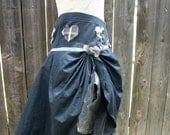 Witch Raggedy Black Gray Silver Hearts Fairy Skirt Goth Tattered Zombie