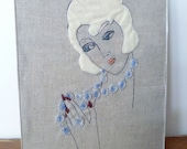 Milk Blossom - Lady With The Beaded Necklace Embroidery