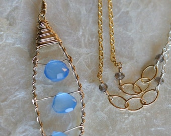 Chalcedony Necklace - Leaf Necklace - Long Gold Necklace