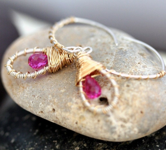 Small Hoop Earring - Dangle Earring - Mixed Metal Earring- Pink Briolette