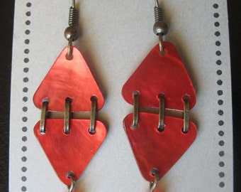 In Stitches OOAK Red Earrings