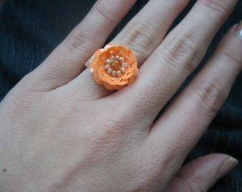 Neon Tangerine Orange Cocktail Ring