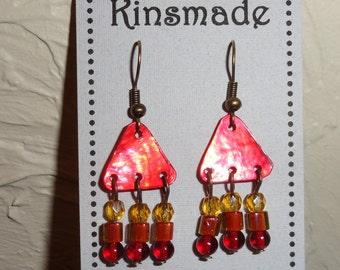 Red Triangle Chandelier Earrings