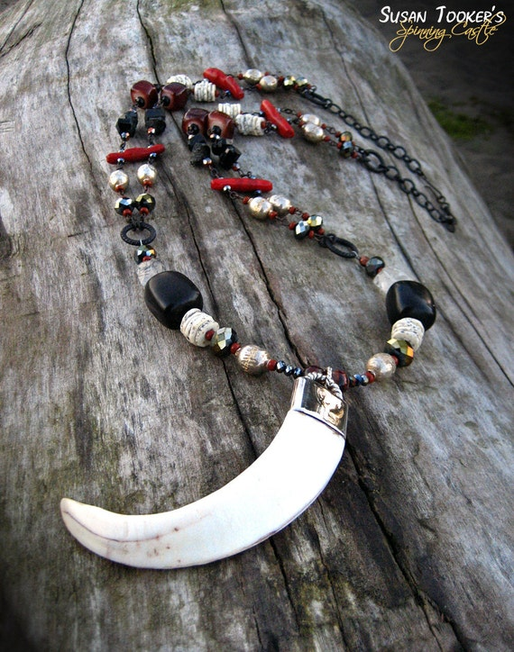 Boar Tusk Tribal Amulet Necklace Sterling Silver Jet Black Tourmaline Pagan Ritual Pendant ARDUINNA of the FOREST by Spinning Castle