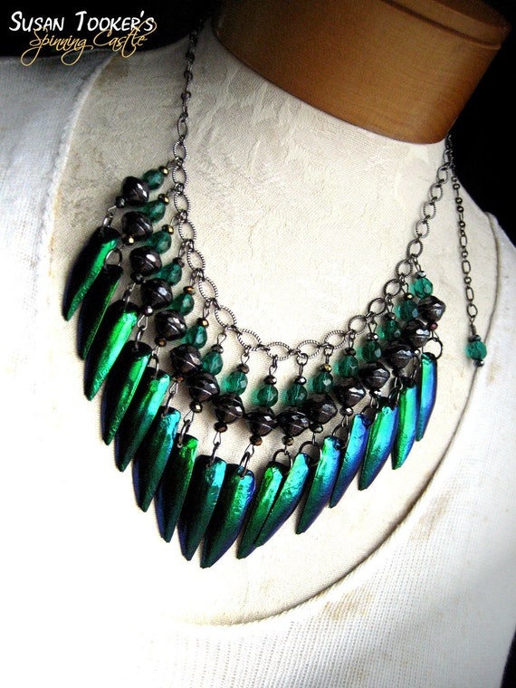 Fairy Elytra Jewel Beetle Wing Necklace Emerald Green Color Sparkling Crystals EMERALD SHARDS by Spinning Castle