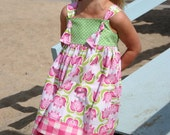 SALE...LAST DRESS...Size 4T... Tana Knot Dress - Ready To Ship...By Kissing Kumquats