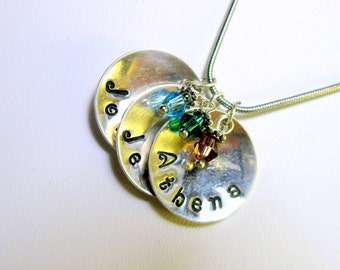 3 Name Necklace Personalized Sterling Silver