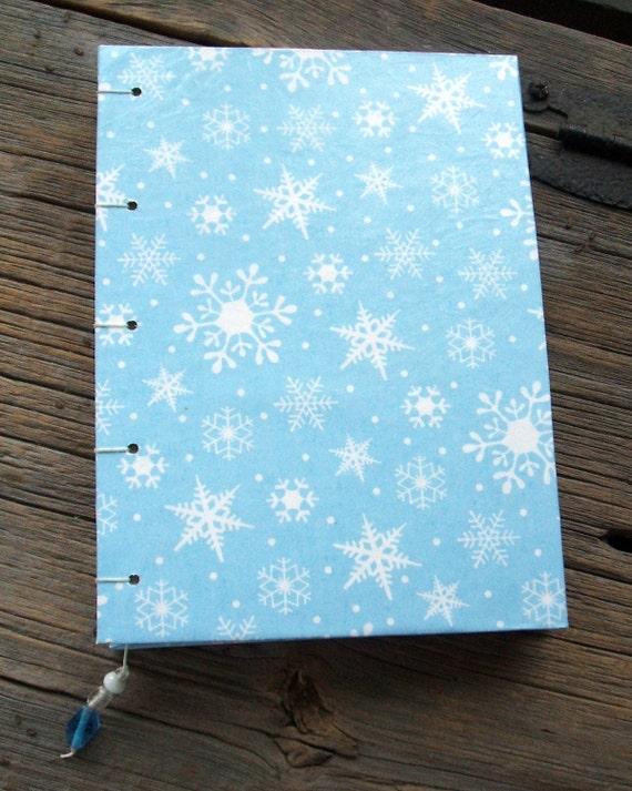 Handmade Blank Journal Winter Blue Snowflakes Coptic Stitch Sketchbook