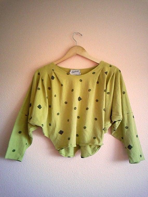 SALE Vintage 80s Olive Green Long Sleeved Crop Top