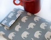 Kindle Sleeve Cover Case Holder Nook, Nook Color, Ereader, Gadget Case - Elephant Walk in Grey Gadget Cases and Covers Ereader Accessories