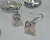 Pink tumbled glass wire wrapped earrings-summer fashion-beach wear-fall jewelry-trendy-budget friendly