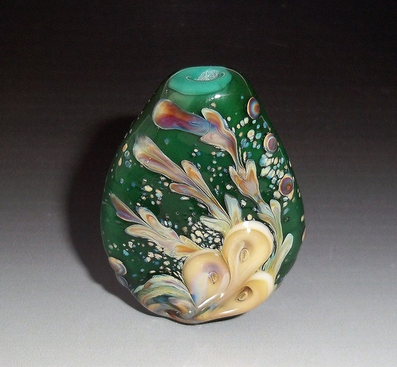 Lampwork Glass Art Focal Bead Handmade Organic RAINFOREST Green Cream sra