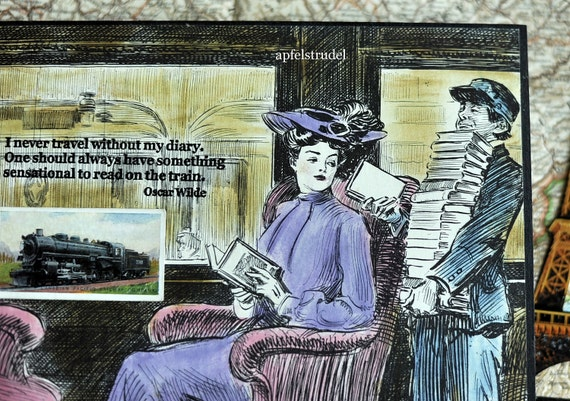 Collage artwork, Bookworm, Booklover, . I never travel without my diary. One should always have something sensational to read on the train.