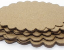 "NESTiNG OVAL SCALLOPS -  Chipboard Die Cuts - 2 Graduated Sizes - Scalloped Labels  - 2 7/8"" and 3 5/8"""
