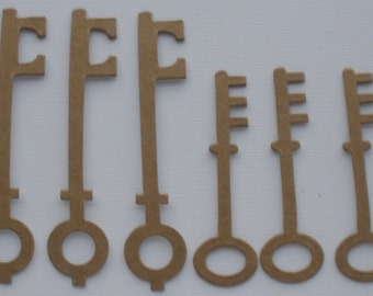 "8 SKELETON KEYS - Bare Chipboard Die Cut Key  Diecuts  - 4 of Each Style - 2 7/8"" and 3 7/8"" inch tall"