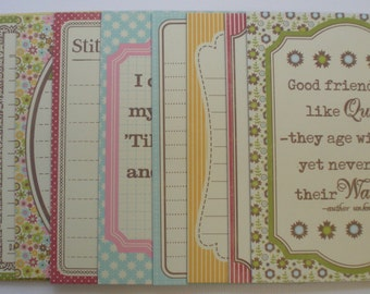 I LOVE TO CRAFT -  Journal Chipboard Die Cut Cards -  Quotes / Picture Cards - 12 Cards