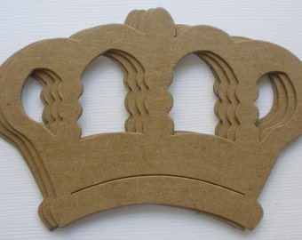 ROYAL CROWNS - King Queen  Vintage Raw Bare Unfinished Chipboard Die Cut