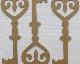 100  ViNTAGE SCROLL KEY - ViCTORiAN Unfinished Chipboard Die Cuts