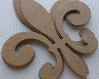 FLEUR De Lis -  Style 2 - Raw Alterable CHiPBOARD Bare Die Cuts  - Flourish Decorative Accent