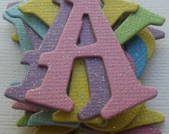 """165 Pieces - GLiTTER DUST SPARKLY - Chipboard Alphabet Letters Die cuts - 1.5"""" tall"""