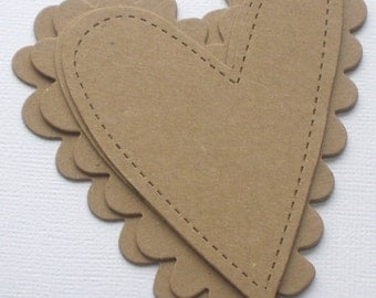 4 pc STiTCHED and SCALLOP HEARTS - Raw Alterable CHiPBOARD Bare Die Cuts