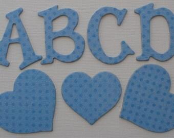 "BRILLANT BLUE - Polka Dot Chipboard Letters & Heart Die Cuts  - 1.5"""