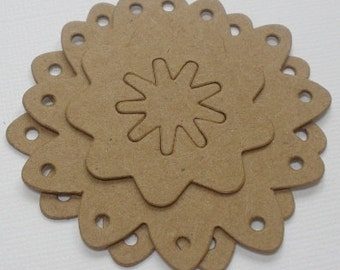 COUNTRY ViNTAGE FLOWERS -  Raw Bare Unfinished Chipboard Die Cuts