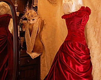 Cleopatra - Custom made in rich burgundy satin and lace layered Bridal gown with steel boned corset