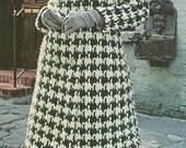 Vintage 1960s Houndstooth Coat Crochet Pattern PDF 6801 Size Small Medium Large 60s