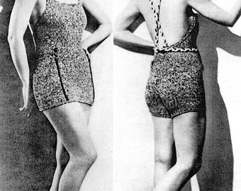 Vintage 1930s Knitted Maillot Swimsuit Pattern PDF 3403