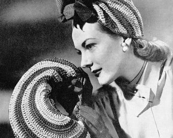 1940s Color Wheel Vintage Crochet Hat and Bag Pattern PDF 4501