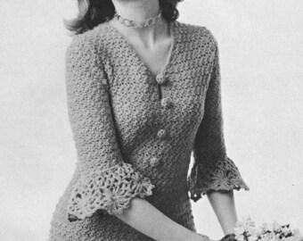 Vintage 1970s Boho Blouse Shirt Hippie Crochet Daisy Peplum Pattern PDF 7206 Size 10 11 12 13 14 Bust 32 33 34 35 36 XS S M Extra Small Med