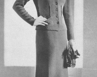 Vintage 1930s Dress Suit Jacket Hyde Park 2 Piece Knitting Pattern Art Deco 30s PDF 3710 Size S Small Bust 34