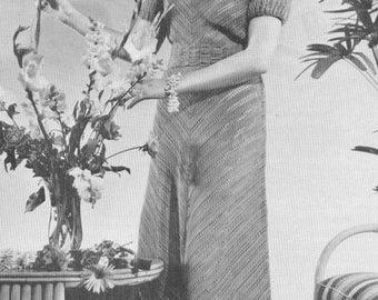 Vintage 1930s Slim Princess Chevron Dress Crochet Pattern PDF 3914