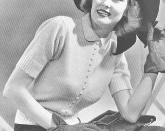 Vintage 1930s Jumper Sweater Knitting Pattern Peter Pan Collar PDF 3909 Bust 34 Size S Small 30s Art Deco