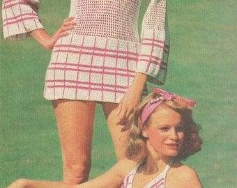 Vintage 1970s Crochet Bikini and Cover Up Pattern PDF 7613