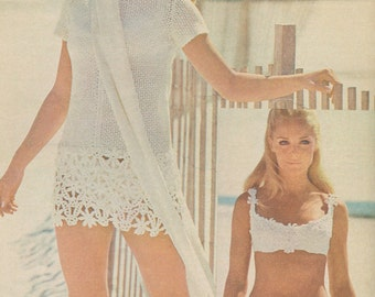 Vintage 1970s Crochet Lace Mini Dress and Bikini Pattern PDF 7516